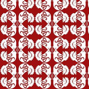 Danish Dove Red White Mirrored