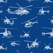 Helicopter Sketch // Royal Blue // Aeronautical Collection