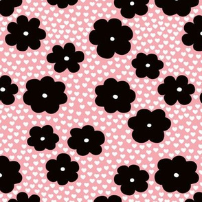 Cool scandinavian style abstract flowers dots and spots brush memphis garden summer pink black and white