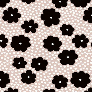 Cool scandinavian style abstract flowers dots and spots brush memphis garden summer beige black and white