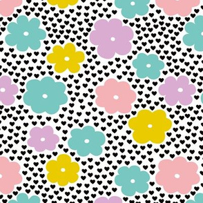 Cool scandinavian style abstract flowers dots and spots brush memphis garden summer colorful pink lilac mint