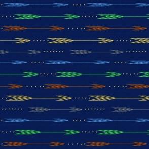 Arrow in navy, mint, gold, gray, aqua