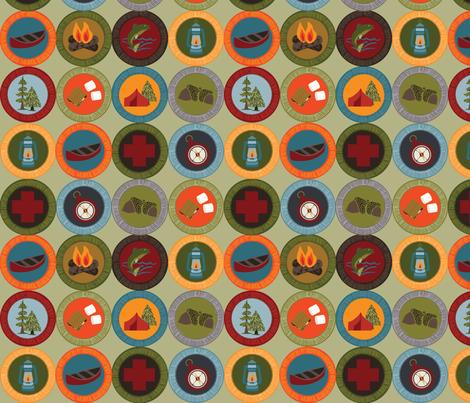 Earned Badges- Small fabric by laine_and_leo on Spoonflower - custom fabric