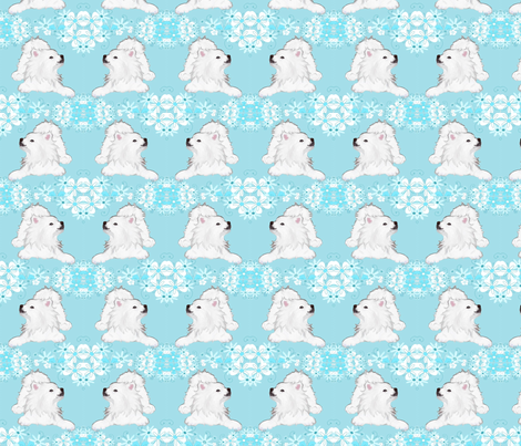 Samoyed PlayPose  & Garlands fabric by designs_by_lee_ on Spoonflower - custom fabric