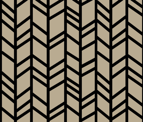 Crazy herringbone - taupe/black fabric by sugarpinedesign on Spoonflower - custom fabric