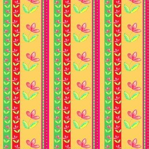 Flowers in Crayon Stripes