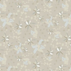 White pale blue floral on taupe_Miss Chiff Designs
