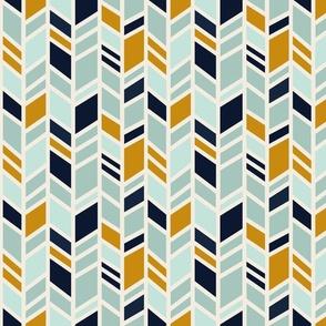Herringbone Multi - navy, gold, mint, ivory - Desert