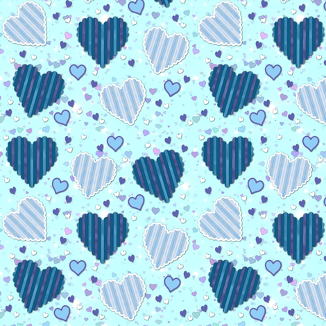 blue hearts fabric by stofftoy on Spoonflower - custom fabric