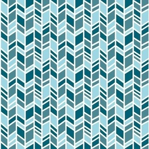 Herringbone - small scale - teal/blue - Winslow Wood