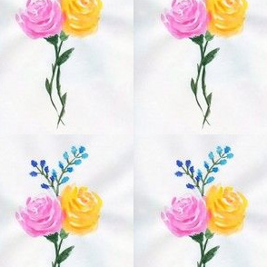 Pink and Yellow Watercolor Roses