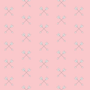 Crossed Arrows - small - pink and grey