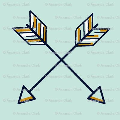 Crossed Arrows on mint, navy, mustard