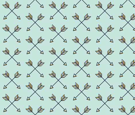 Crossed Arrows on mint, navy, mustard fabric by sugarpinedesign on Spoonflower - custom fabric