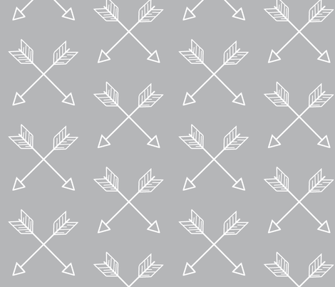 Crossed Arrows - white and grey fabric by sugarpinedesign on Spoonflower - custom fabric