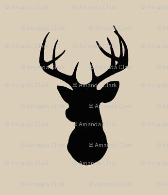 Deer - black/tan - Buck - Stag Head Silhouette