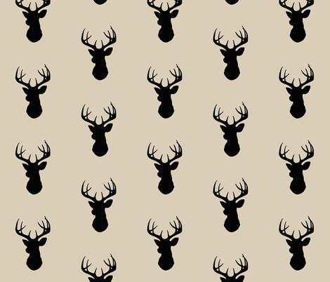 Deer - black/tan - Buck - Stag Head Silhouette  fabric by sugarpinedesign on Spoonflower - custom fabric