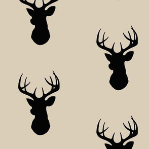 Deer - black/tan - Buck - Stag Head Silhouette