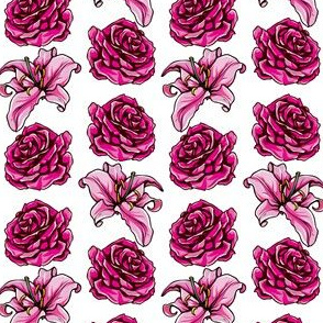 Stargazer Lily and Rose Floral Pattern
