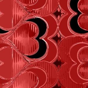 Hearts Dress Black Red