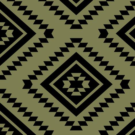 Aztec - Sage, Black fabric by fernlesliestudio on Spoonflower - custom fabric