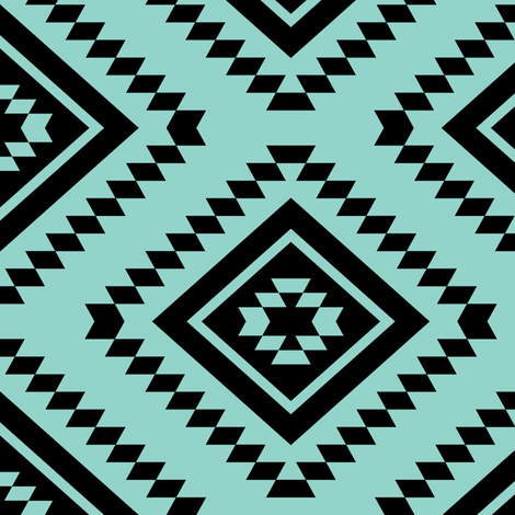 Aztec - Turquoise, Black fabric by fernlesliestudio on Spoonflower - custom fabric