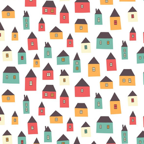 Cartoon pattern with tiny houses.