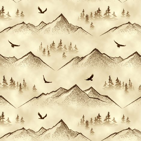 Eagles' Eye View // Autumn Mist // Small  fabric by thinlinetextiles on Spoonflower - custom fabric