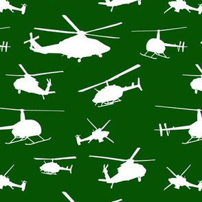 Helicopter Silhouettes on Green // Small