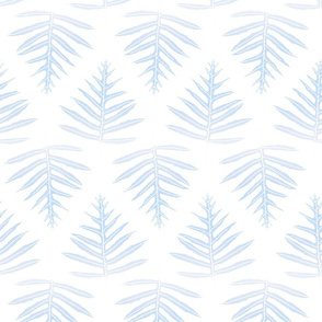Fern Array Faded Blue White