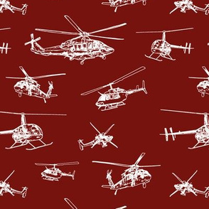 Helicopters on Maroon // Small