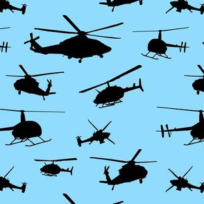 Helicopter Silhouettes on Light Blue // Small