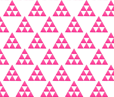 Watercolor Triangles Electric Pink and White fabric by bella_modiste on Spoonflower - custom fabric