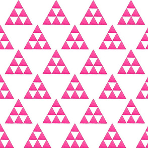 Watercolor Triangles Electric Pink and White