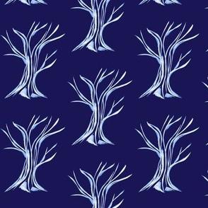 Windswept WinterTrees on Evening Sky Blue