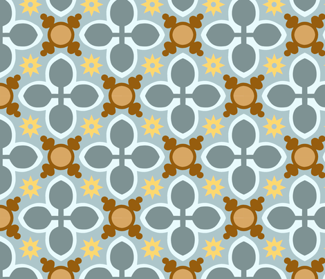 Carreaux de ciment croix bleu l fabric nadja petremand spoonflower - Carreaux de ciment bleu ...