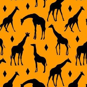 Giraffes on Orange // Small