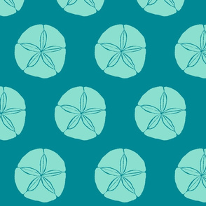Sand Dollar XL aqua on teal