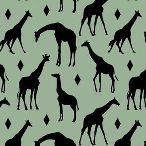 Geo Giraffes on Oasis Green // Small