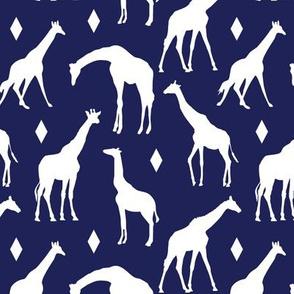 Giraffes on Dark Blue // Small