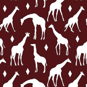 Giraffes on Burgundy // Small