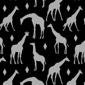 Grey Giraffes on Black // Small