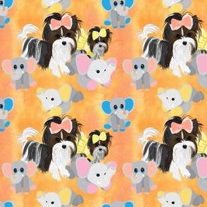 "Parti Yorkie - Elephant buddies - One design about 4""x 4"""