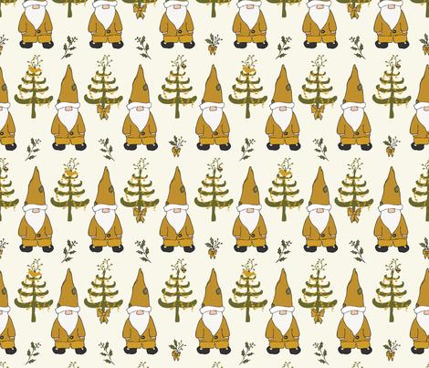 Santa Gnomes - Caramel, Sage fabric by fernlesliestudio on Spoonflower - custom fabric