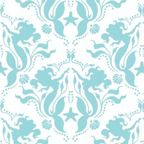 Mermaid Damask Aqua/White