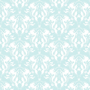 Mermaid Damask - Pale Aqua/White
