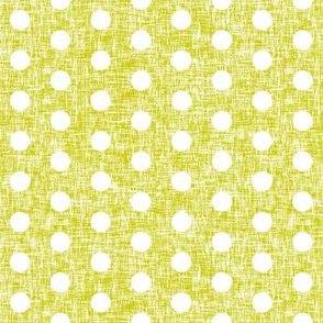 Small white polka dots on acid yellow linen weave by Su_G