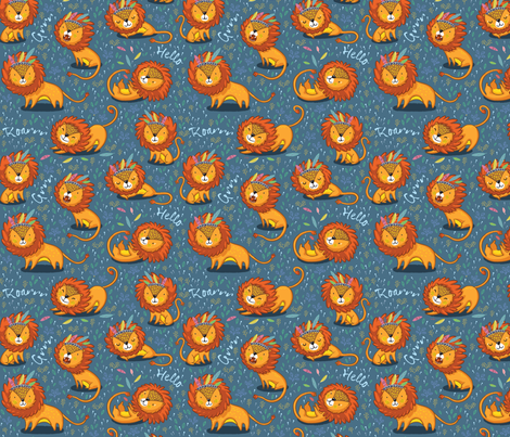 Sunny Lion fabric by penguinhouse on Spoonflower - custom fabric