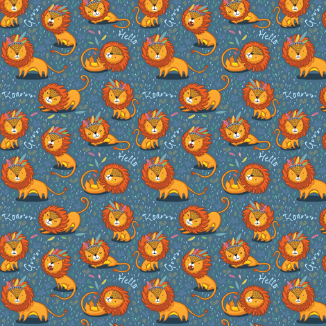 Sunny Lion_small size fabric by penguinhouse on Spoonflower - custom fabric
