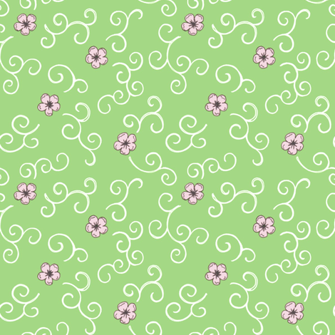 Cherry Blossoms and Swirls - green fabric by hazel_fisher_creations on Spoonflower - custom fabric